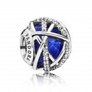 Talisman Abstract Argint 925 Cristal Albastru Regal, CZ PANDORA