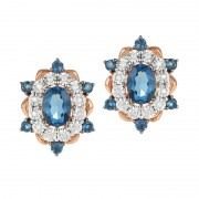 Cercei Aur 18k Diamante, London Blue Topaz DERUVO