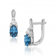 Cercei Aur 18k Diamante, London Blue Topaz, Topaz Alb DERUVO