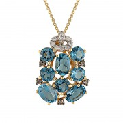 Pandantiv cu Lant Aur 18k Diamante, London Blue Topaz DERUVO