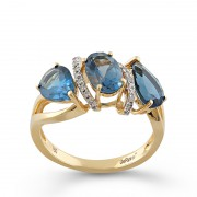 Inel Aur 18k Diamante, London Topaz DERUVO