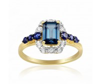 Inel Aur 18k Diamante, Safire, London Blue Topaz DERUVO