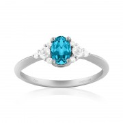 Inel Aur 18k Diamante, London Blue Topaz, Topaz Alb DERUVO
