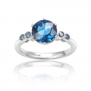 Inel Aur 18k Diamante Albastre, London Blue Topaz DERUVO