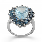 Inel Argint 925 Blue Topaz, London Blue Topaz FANTAZZIA