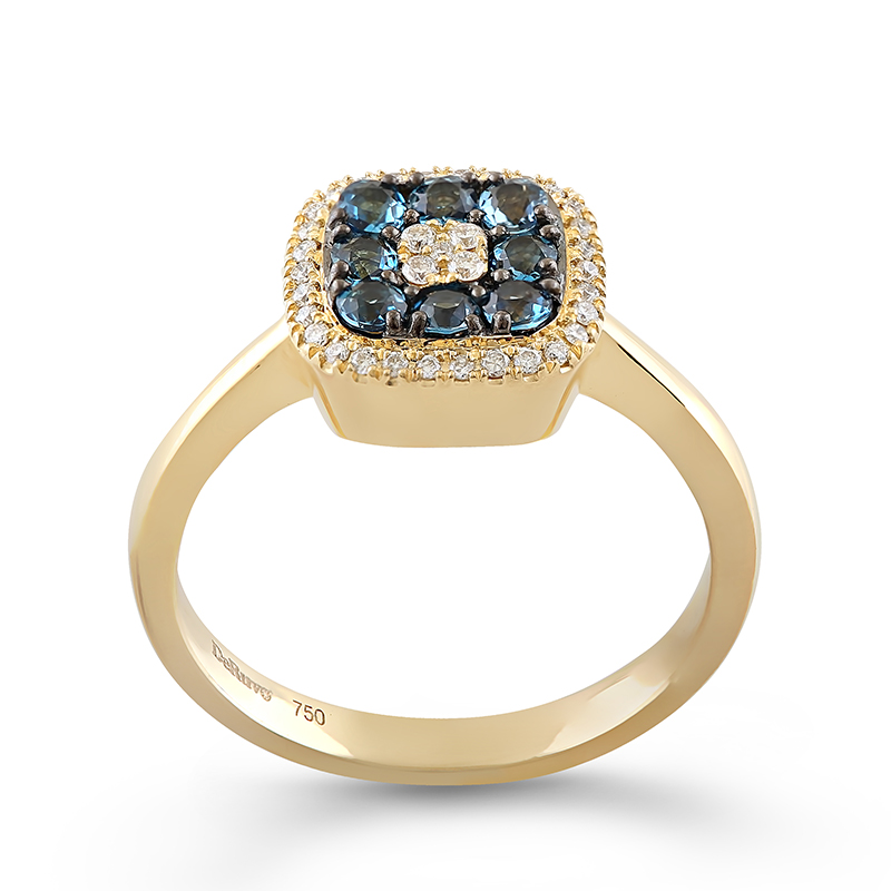 Inel Aur 18k Diamante, London Blue Topaz DERUVO